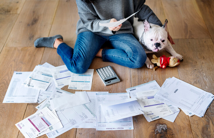 woman checking her personal tax record